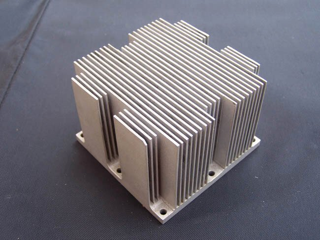 Machined heatsink fins exceeded extrusion capability