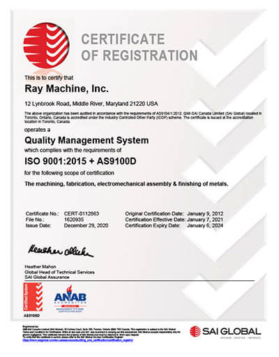 AS9100D Ray Machine Inc. Certificate