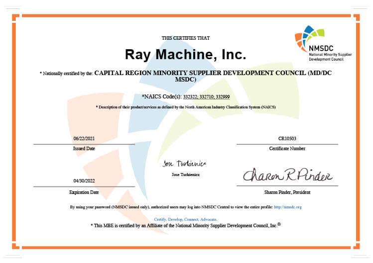 2021 Minority Certification Certificate